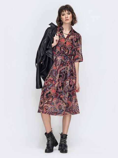Платье из шифона с принтом бордовое 45054, фото 1