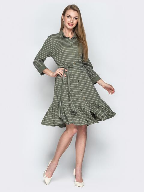Платье-рубашка цвета хаки с воланом по низу 21764, фото 1