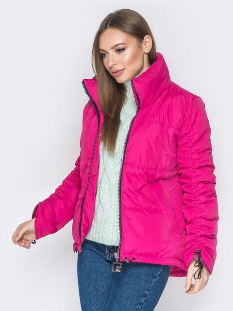 Розовая куртка на кулиске снизу и воротником-стойкой - 20060, фото 1 – интернет-магазин Dressa
