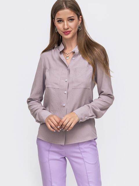 Серая блузка с воротником-стойкой 49643, фото 1