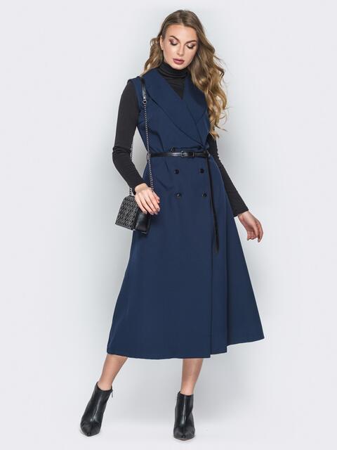 Синее платье-пиджак с карманами и ремешком - 19440, фото 1 – интернет-магазин Dressa