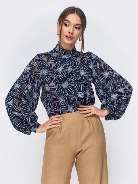 Тёмно-синяя блузка с воротником-аскот - 44069, фото 1 – интернет-магазин Dressa