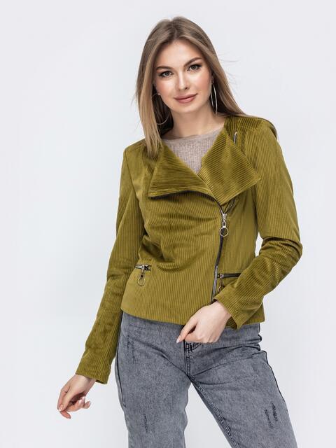 Вельветовая косуха с карманами по бокам зелёная - 44907, фото 1 – интернет-магазин Dressa