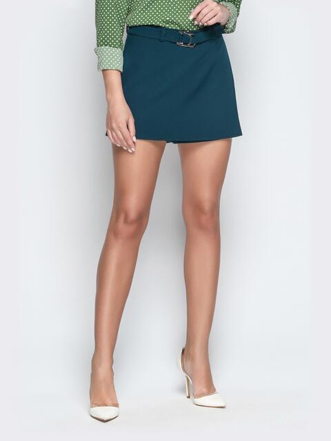 Зелёная юбка-шорты из костюмной ткани с поясом - 21084, фото 1 – интернет-магазин Dressa