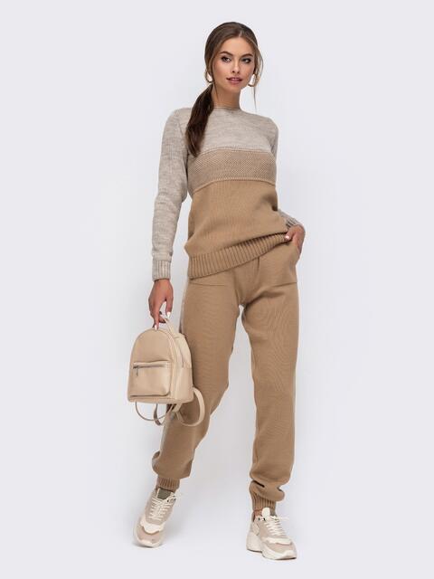 Бежевый вязаный комплект с брюками на резинке 50428, фото 1