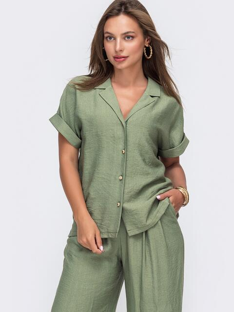 Блузка из жатой льняной ткани с цельнокроеным рукавом хаки - 49094, фото 1 – интернет-магазин Dressa