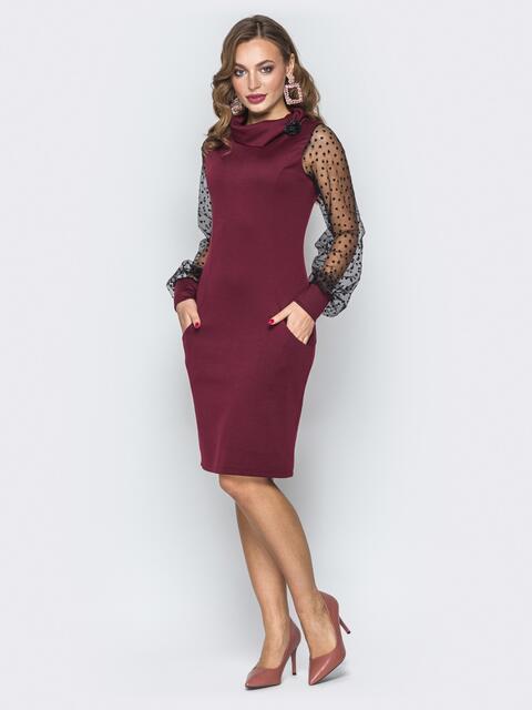 Бордовое платье с рукавами из фатина - 19642, фото 1 – интернет-магазин Dressa
