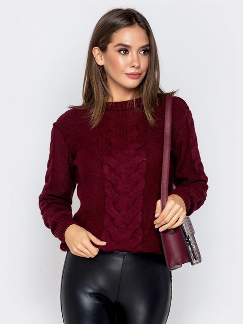 Бордовый свитер с ажурной вязкой 41073, фото 1