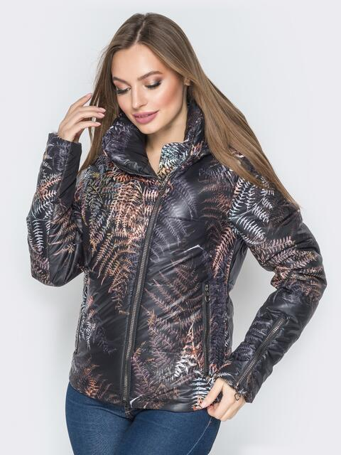 Чёрная куртка с растительным принтом и воротником-стойкой 20266, фото 1