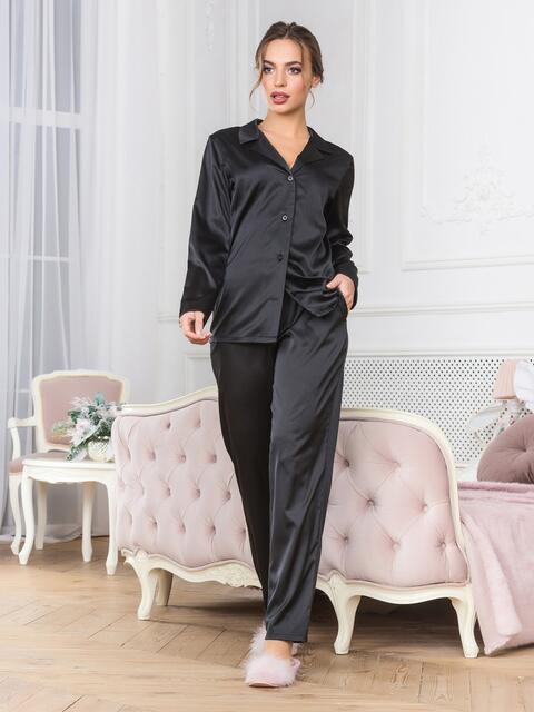 Чёрная пижама с рубашкой и брюками - 18953, фото 1 – интернет-магазин Dressa