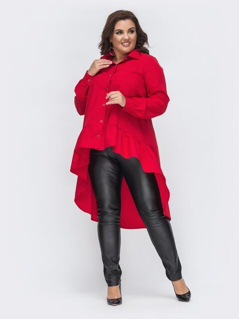 Комплект батал из блузки с удлиненной спинкой красный 45136, фото 1