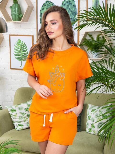"""Оранжевая пижама с авторским принтом """"единорог"""" - 20465, фото 1 – интернет-магазин Dressa"""