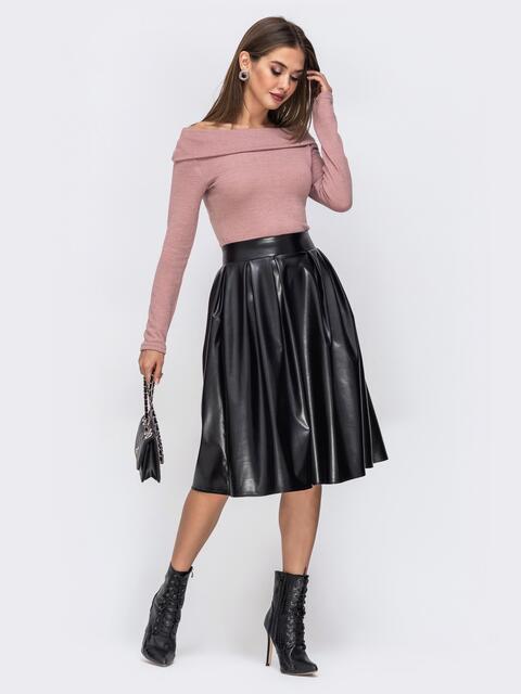 """Платье с вырезом """"лодочка"""" и юбкой из эко-кожи пудровое - 42334, фото 1 – интернет-магазин Dressa"""
