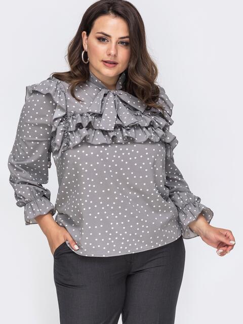 Серая блузка большого размера с воротником аскот  49816, фото 1