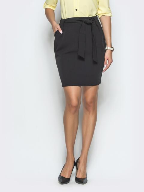 Юбка-мини чёрного цвета с карманами - 40053, фото 1 – интернет-магазин Dressa