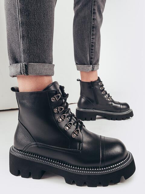 Зимние ботинки на массивной подошве чёрные 51807, фото 1