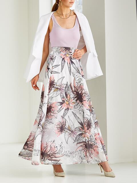 Белая юбка-макси из шифона с цветочным принтом  53996, фото 1