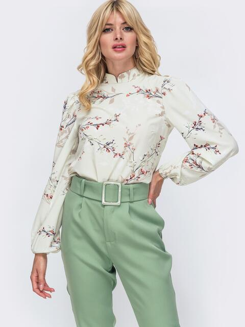 Блузка прямого кроя с принтом и воротником-стойкой зеленая 49925, фото 1