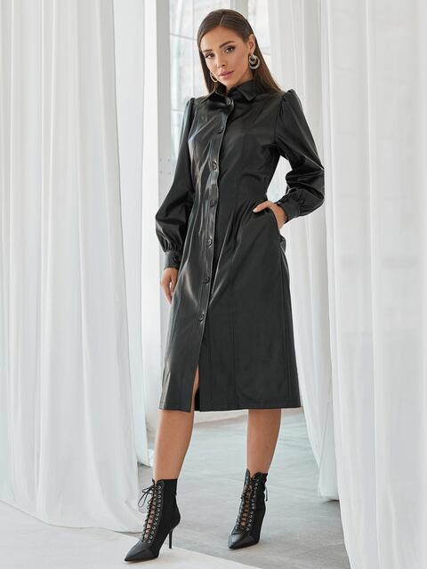 Чёрное платье-рубашка из искусственной кожи 49929, фото 1