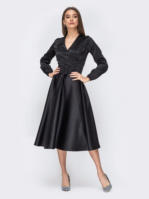 Чёрное платье с лифом на запах - 44156, фото 1 – интернет-магазин Dressa