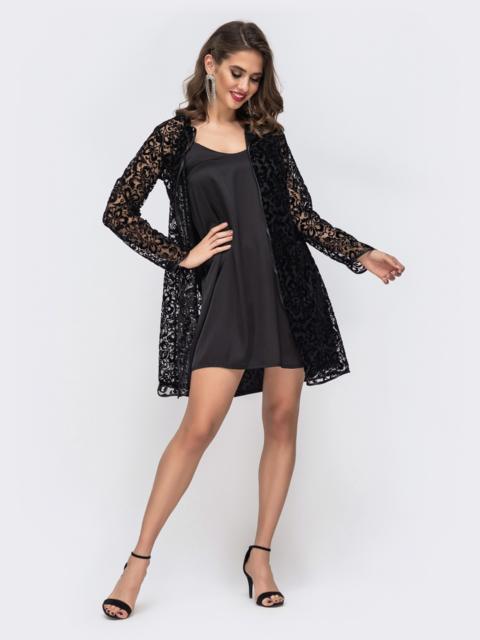 Комплект из шелкового платья и накидки из гепюра чёрный - 42674, фото 1 – интернет-магазин Dressa