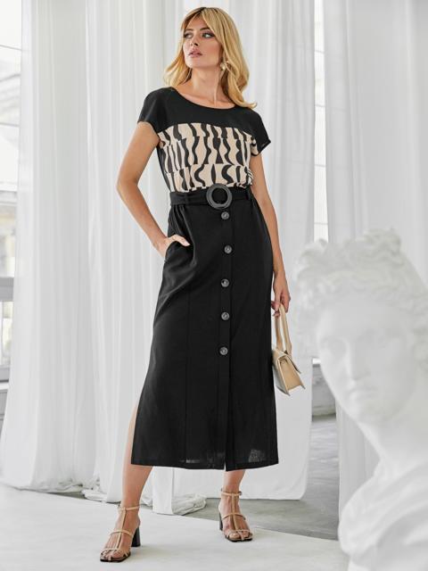 Льняной комплект из блузки с принтом и юбки чёрный 49924, фото 1
