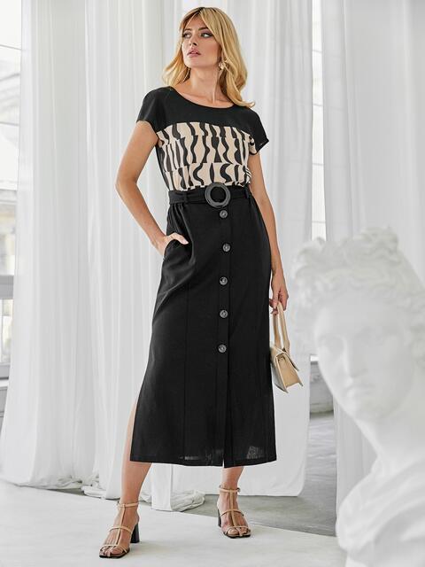 Льняной костюм из блузки с принтом и юбки чёрный 49924, фото 1