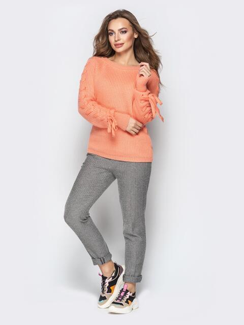 Оранжевый свитер с рукавами-реглан и прошитыми косами - 20133, фото 1 – интернет-магазин Dressa