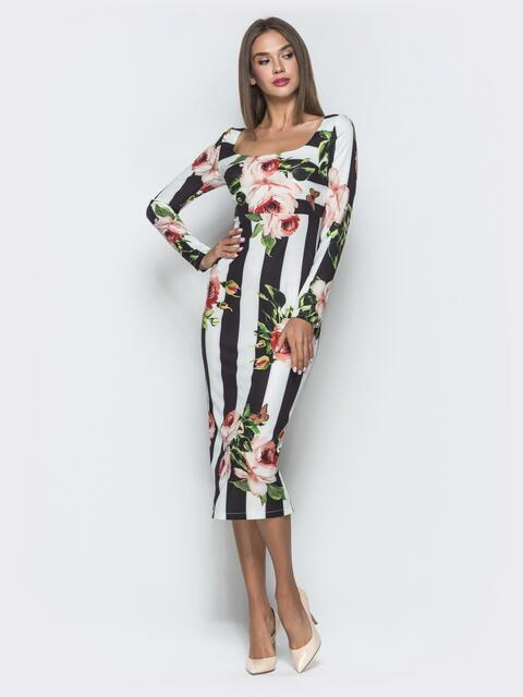 Платье-футляр с принтом и овальным вырезом - 40123, фото 1 – интернет-магазин Dressa