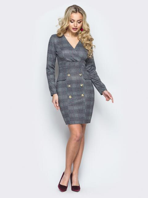 Платье-пиджак в клетку с молнией по спинке - 17782, фото 1 – интернет-магазин Dressa