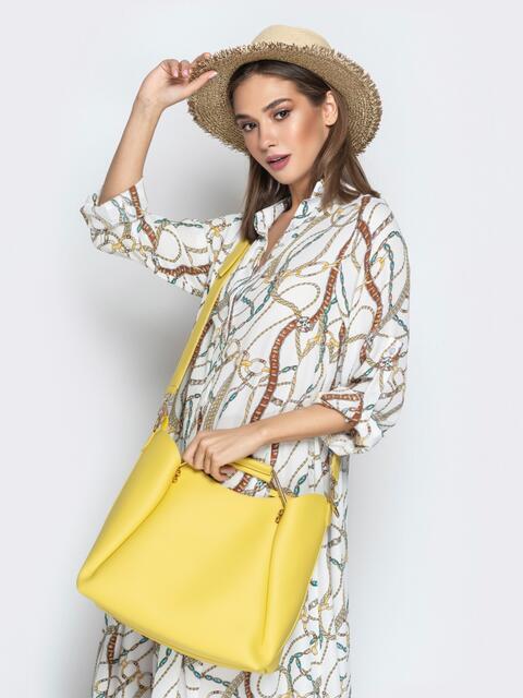 Желтая сумка-тоут с металлическими ручками - 21462, фото 1 – интернет-магазин Dressa