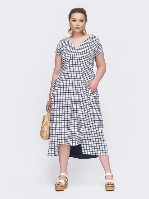 Белое платье батал в клетку с асимметричным низом - 46363, фото 1 – интернет-магазин Dressa
