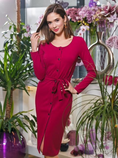 Бордовое платье-футляр на пуговицах с поясом - 20030, фото 1 – интернет-магазин Dressa
