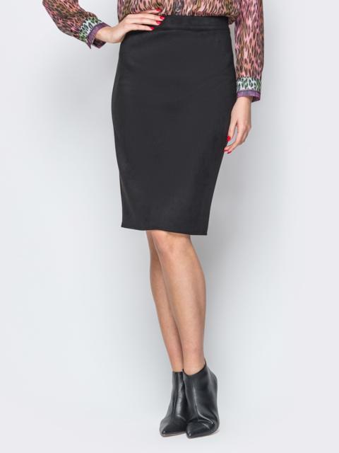 Черная юбка-карандаш из замши на молнии 19374, фото 1