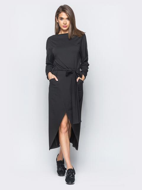 """Черное платье с рукавом """"летучая мышь""""  - 15707, фото 1 – интернет-магазин Dressa"""