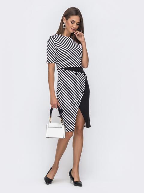 Чёрное платье в полоску с контрастными вставками - 41260, фото 1 – интернет-магазин Dressa