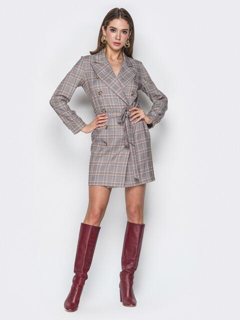 Двубортное платье-пиджак в клетку серое - 20104, фото 1 – интернет-магазин Dressa