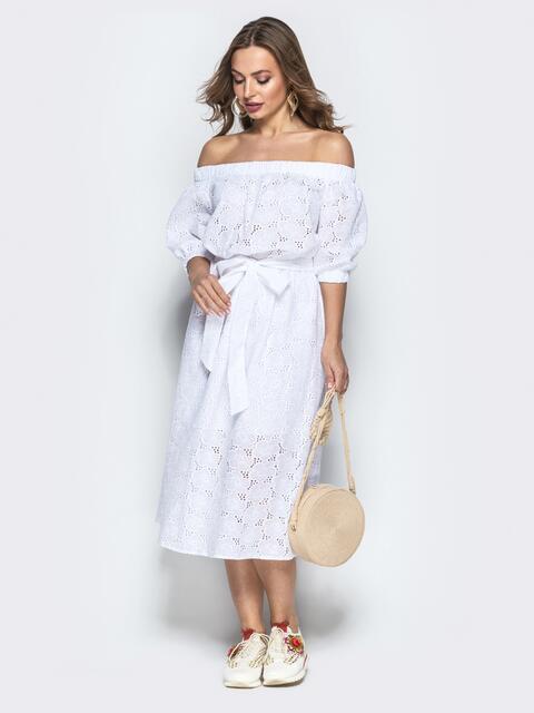 """Фактурное платье белого цвета с рукавом """"фонарик"""" - 22320, фото 1 – интернет-магазин Dressa"""