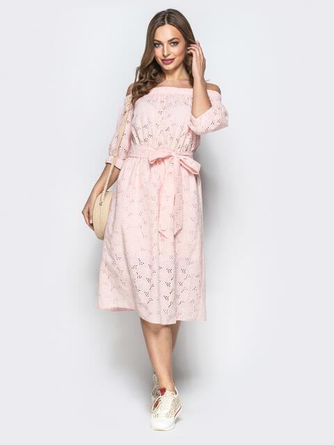 """Фактуроне платье пудрового цвета с рукавом """"фонарик"""" - 22321, фото 1 – интернет-магазин Dressa"""