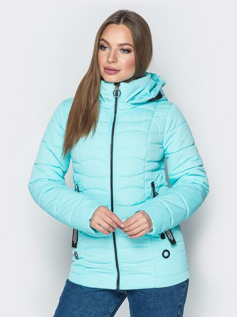 Голубая куртка с воротником-стойкой и съёмным капюшоном - 20292, фото 1 – интернет-магазин Dressa
