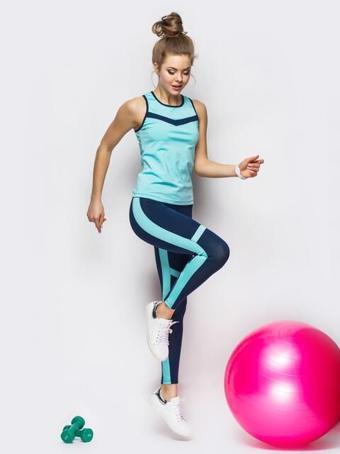 Голубой комплект для фитнеса из майки и лосин - 33724, фото 1 – интернет-магазин Dressa