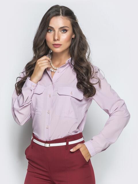 Классическая рубашка розового цвета с накладными карманами - 39804, фото 1 – интернет-магазин Dressa