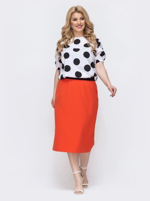 Комплект большого размера из блузки в горох и юбки оранжевый - 46316, фото 1 – интернет-магазин Dressa