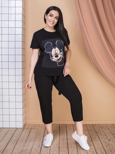 Комплект большого размера из футболки и брюк чёрный 49247, фото 1