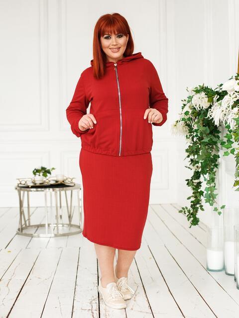 Комплект-тройка большого размера с брюками и юбкой красный 46498, фото 1