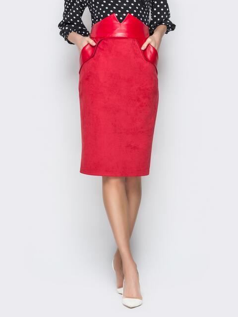 Красная юбка из замши с фигурным поясом 19430, фото 1
