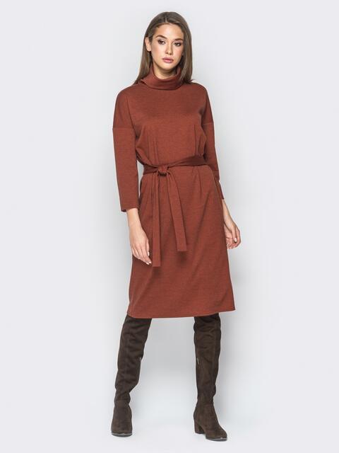 Платье из французского трикотажа с воротником-хомут терракотовое - 18275, фото 1 – интернет-магазин Dressa
