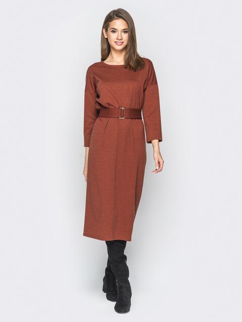 Платье в стиле oversize с поясом в комплекте терракотовое - 18277, фото 1 – интернет-магазин Dressa