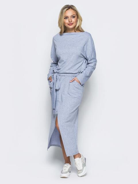 """Серое платье с рукавом """"летучая мышь"""" и карманами - 15708, фото 1 – интернет-магазин Dressa"""