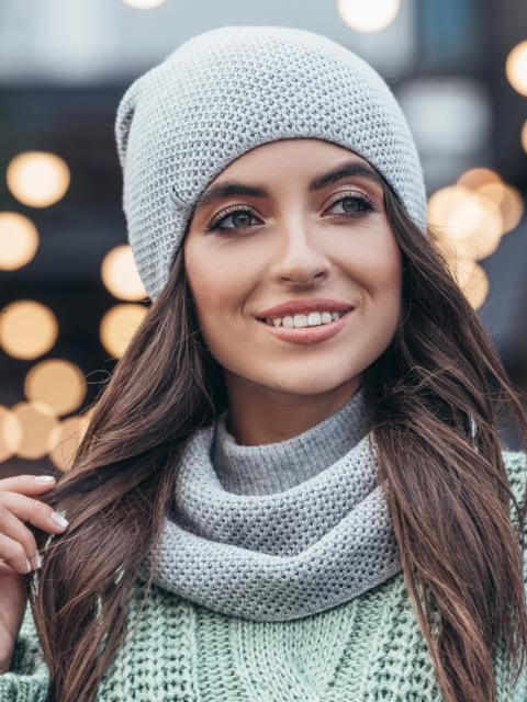 Серый одинарный комплект из шапки и хомута - 15530, фото 2 – интернет-магазин Dressa